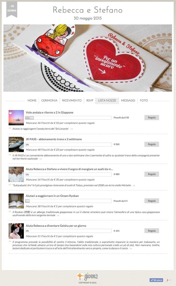 sito internet gratis matrimonio Given2 con lista nozze online di viaggio